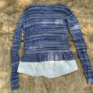 Market & Spruce | Blue Stripe Layered Sweater